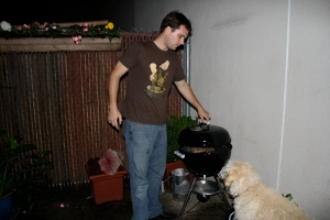 Tim at the grill with his sous chef Angus
